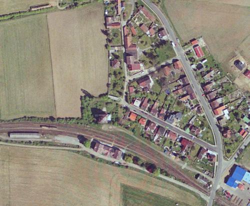Ortofoto pohled nadolní část obceOrtofoto pohled nadolní část obceOrtofoto pohled nahorní část obce